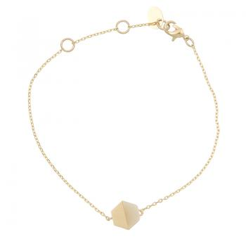 Armkettchen Hexagon gold Stone White